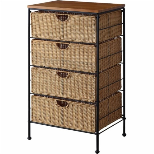 4D Concepts Autumn 4 Drawer Wicker Metal Accent Chest in Honey and Black Perspective: back