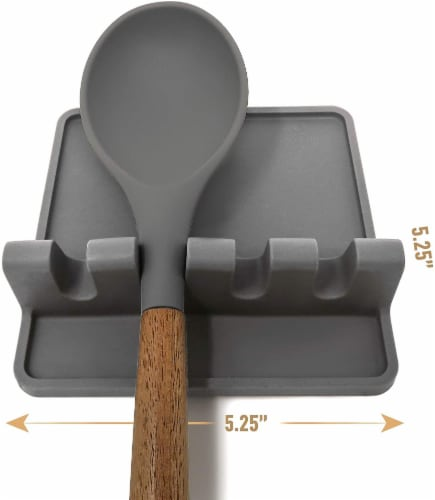 Utensil Rest w/ Drip Pad (Silicone) - Dark Grey Perspective: back