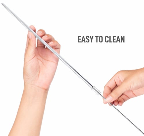 Zulay Kitchen Stainless Steel Straws Eco Friendly Reusable Straws Set of 2 w/ Cleaning Brush Perspective: back