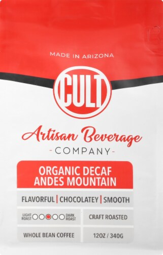 CULT Decaf Organic Andes Mountain Whole Bean Coffee Perspective: back