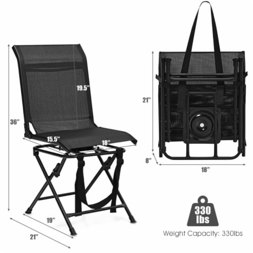 Gymax Folding 360° Silent Swivel Hunting Chair Blind Chair All-weather Outdoor Perspective: back
