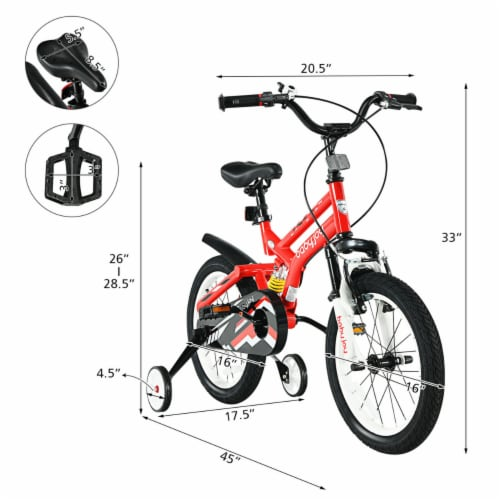 Gymax 16'' Kids Bike Toddlers Adjustable Freestyle Bicycle w/ Training Wheels Perspective: back