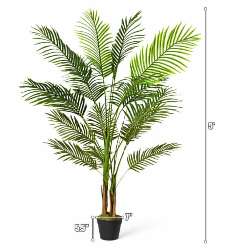 Gymax 5Ft Artificial Phoenix Palm Tree Plant for Indoor Home Office Decoration Perspective: back