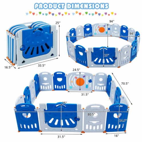 Gymax 16-Panel Baby Playpen Toddler Kids Safety Play Center w/Lockable Gate Perspective: back