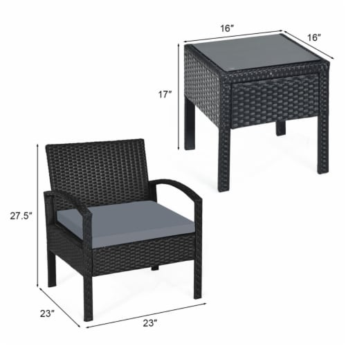 Gymax 3PCS Patio Rattan Conversation Furniture Set Outdoor Yard w/ Grey Cushions Perspective: back