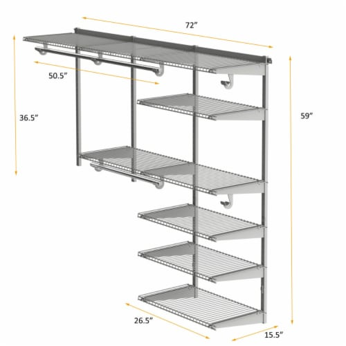 Gymax Custom Closet Organizer Kit 4 to 6 FT Wall-mounted Closet System w/Hang Rod Grey Perspective: back