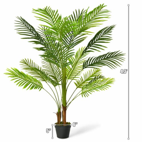 Gymax 4.3Ft Artificial Phoenix Palm Tree Plant for Indoor Home Office Store Perspective: back