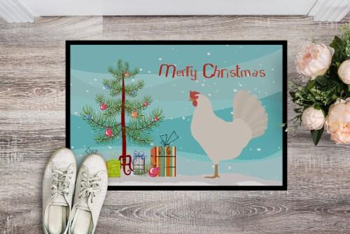 Leghorn Chicken Christmas Indoor or Outdoor Mat 24x36 Perspective: back