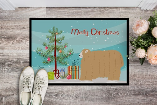 Lincoln Longwool Sheep Christmas Indoor or Outdoor Mat 24x36 Perspective: back