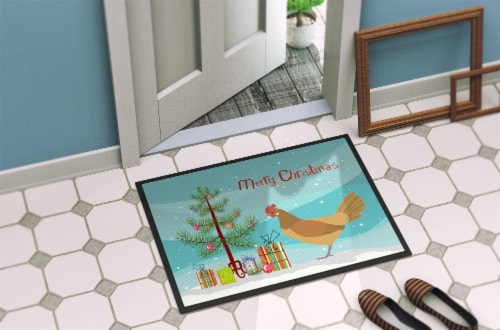 Frisian Friesian Chicken Christmas Indoor or Outdoor Mat 18x27 Perspective: back