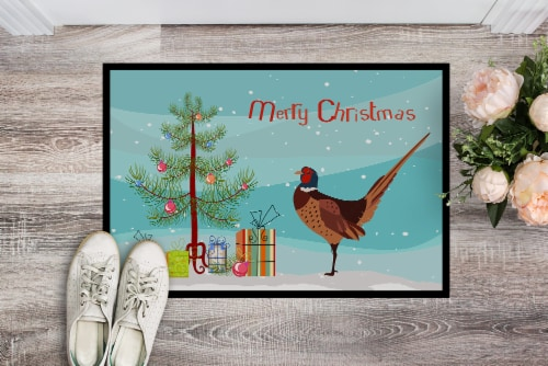 Ring-necked Common Pheasant Christmas Indoor or Outdoor Mat 18x27 Perspective: back