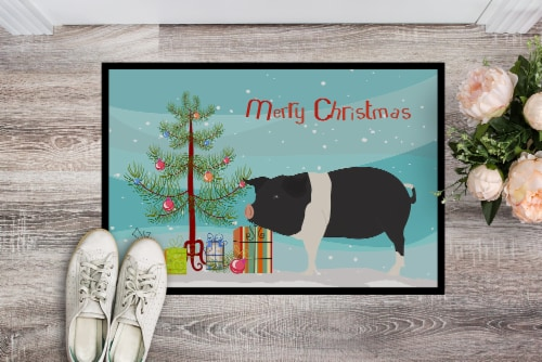 Hampshire Pig Christmas Indoor or Outdoor Mat 18x27 Perspective: back