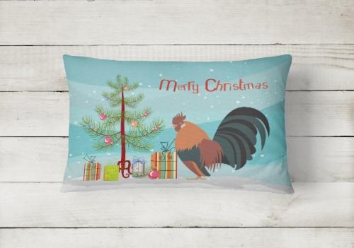 Dutch Bantam Chicken Christmas Canvas Fabric Decorative Pillow Perspective: back