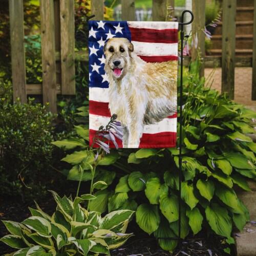 Carolines Treasures  BB9670GF Irish Wolfhound Patriotic Flag Garden Size Perspective: back