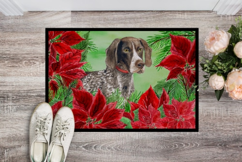 German Shorthaired Pointer Poinsettas Indoor or Outdoor Mat 24x36 Perspective: back