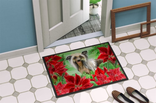 Chinese Crested Poinsettas Indoor or Outdoor Mat 24x36 Perspective: back