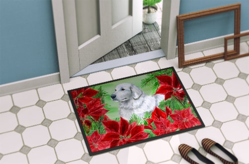 Maremma Sheepdog Poinsettas Indoor or Outdoor Mat 18x27 Perspective: back