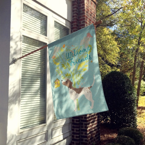 Carolines Treasures  BB7593CHF Welcome Friends Gun Dog Flag Canvas House Size Perspective: back