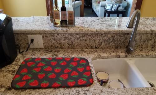 Carolines Treasures  BB5137DDM Strawberries on Gray Dish Drying Mat Perspective: back