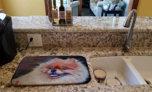 Carolines Treasures  MH1056DDM Pomeranian Head Dish Drying Mat Perspective: back