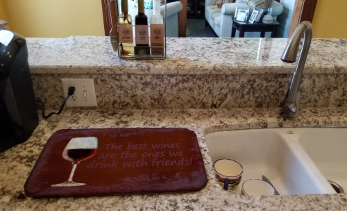 The best wines are the ones we drink with friends Dish Drying Mat Perspective: back