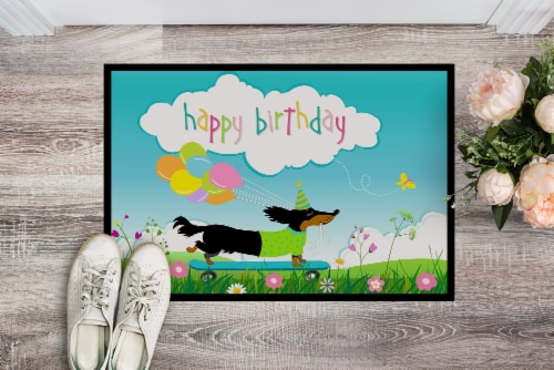 Happy Birthday Dachshund Indoor or Outdoor Mat 18x27 Perspective: back