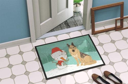 German Shepherd and Snowman Christmas Indoor or Outdoor Mat 24x36 Perspective: back