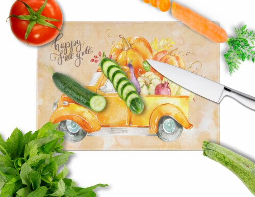 Fall Harvest Italian Greyhound Glass Cutting Board Large Perspective: back