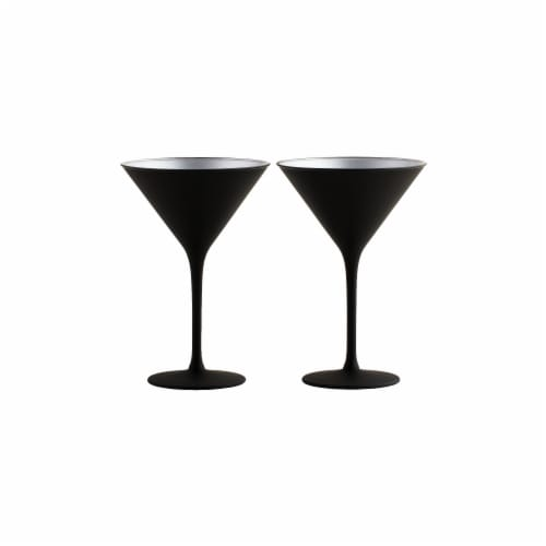 Stolzle Lausitz Olympia Cocktail Glasses - Matte Black/Silver - 2 Pack Perspective: back