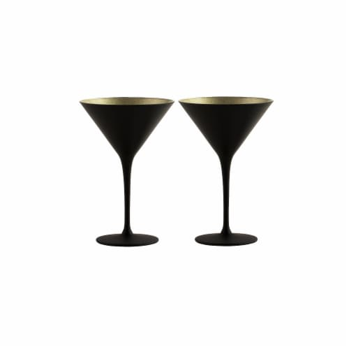 Stolzle Lausitz Olympia Cocktail Glasses - Matte Black/Gold - 2 Pack Perspective: back