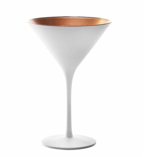 Stolzle Lausitz Olympia Cocktail Glasses - Matte White/Bronze - 2 Pack Perspective: back