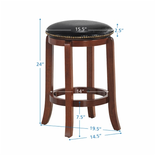 Costway 24'' Swivel Bar stool Leather Padded Dining Kitchen Pub Bistro Chair Backless Perspective: back