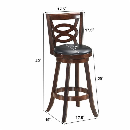 Costway Set of 2 Bar Stools 29'' Height Wooden Swivel Backed Dining Chair Home Kitchen Perspective: back