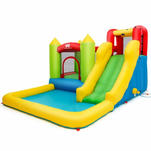 Gymax Outdoor Inflatable Bounce House Water Slide Climb Bouncer Pool Perspective: back