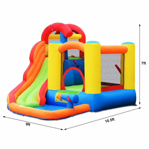 Costway Inflatable Bounce House Kid Water Splash Pool Slide Jumping Castle w/740W Blower Perspective: back