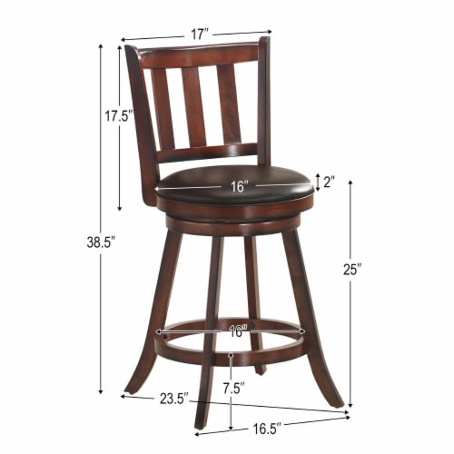 Costway Set of 2 25'' Swivel Bar stool Leather Padded Dining Kitchen Pub Bistro Chair High Perspective: back