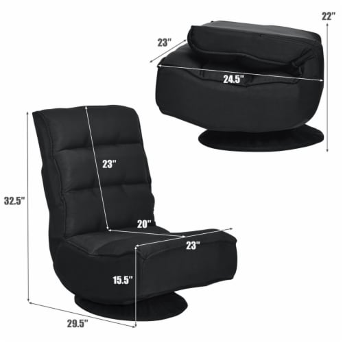 Costway Gaming Chair Fabric 5-Position Folding Lazy Sofa 360 Degree Swivel Black Perspective: back