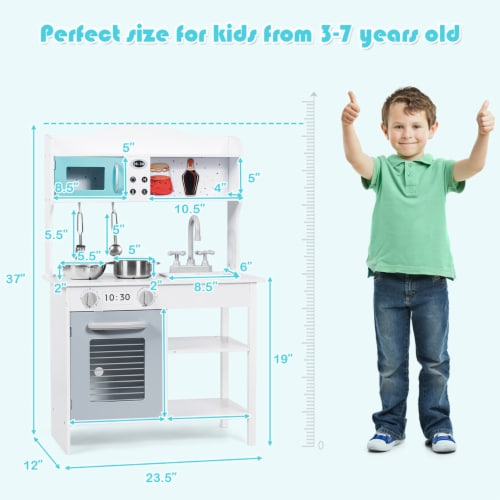 Costway Kids Kitchen Playset Cookware Cooking Set with Pots & Pans Perspective: back