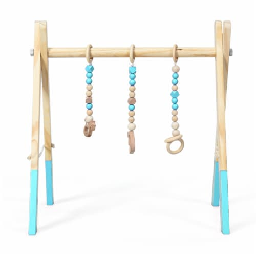 Foldable Wooden Baby Gym with 3 Wooden Baby Teething Toys Hanging Bar Green Perspective: back