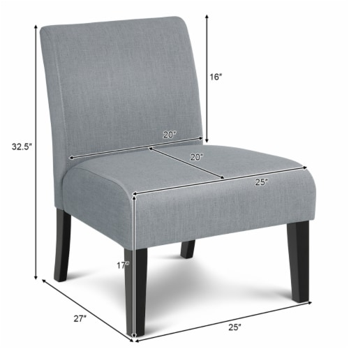 Costway Set of 2 Armless Accent Chair Leisure Chair Single Sofa Fabric Upholstered Gray Perspective: back