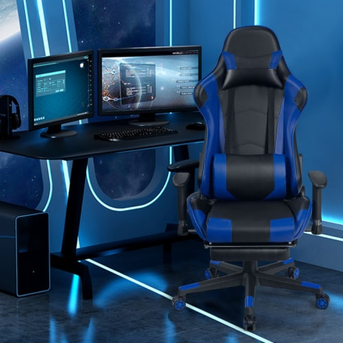 Costway Gaming Recliner Racing Chair w/ Lumbar Support & Footrest Blue Perspective: back