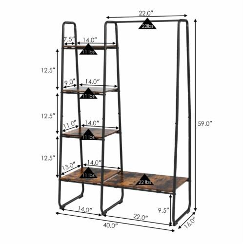 Costway Metal Garment Rack Free Standing Closet Organizer w/5 Shelves Hanging Bar Black Perspective: back