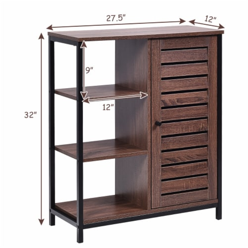 Costway Industrial Bathroom Storage Cabinet Free Standing Cabinet W/3 Shelves Perspective: back