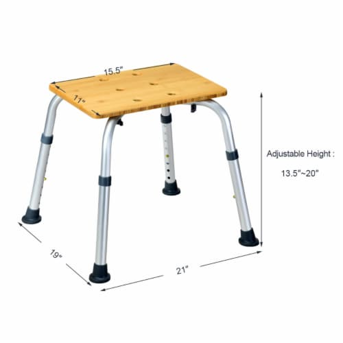 Costway Bamboo Bath Seat Shower Chair Square Shaped Stool Slip-Resistant Rubber Tip New Perspective: back