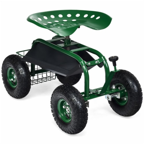 Costway Garden Cart Rolling Work Seat w/ Tool Tray Basket Green Perspective: back