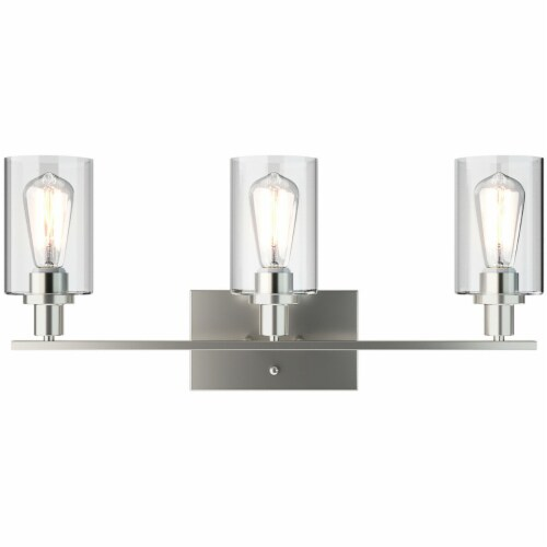 Costway 3-Light Wall Sconce Modern Bathroom Vanity Light Fixtures w/ Clear Glass Shade Perspective: back