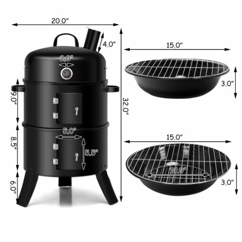 Costway 3-in-1 Portable Round Charcoal Smoker Vertical BBQ Grill Built-in Thermometer Perspective: back