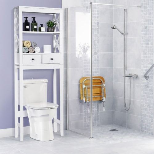 Costway Over The Toilet Space Saver Bathroom Organizer Storage Shelf w/ 2 Drawers White Perspective: back
