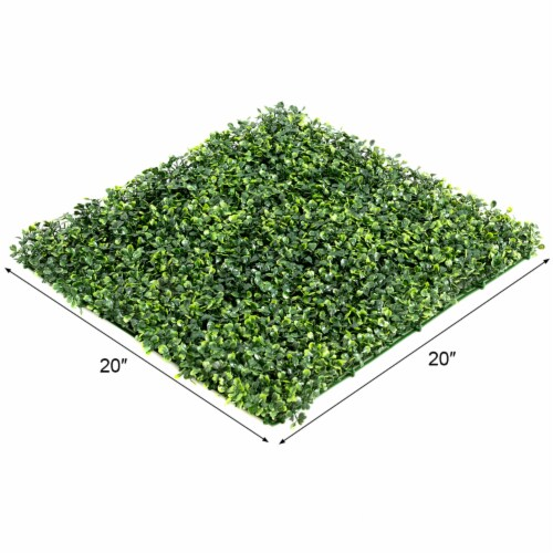 Costway 12 PCS 20''x20'' Artificial Boxwood Plant Wall Panel Hedge Privacy Fence Perspective: back