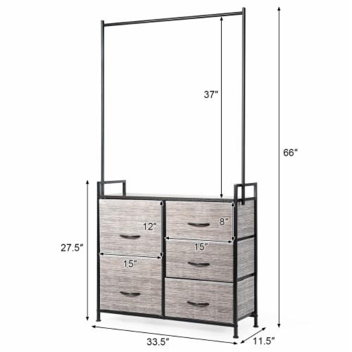 Costway 5 Drawer Fabric Dresser Hanger Metal Frame Wooden Top Storage Closet Organizer Perspective: back